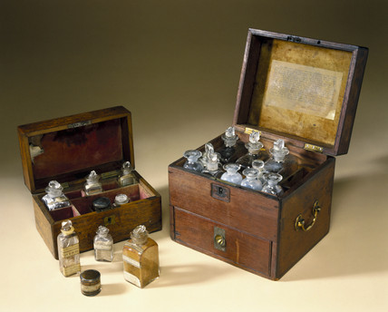 Two medicine chests, 18th and 19th centuries.