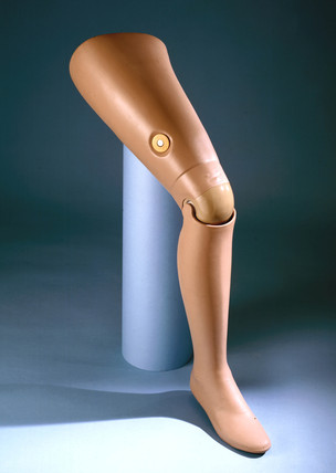 Artificial leg, flesh coloured, 1979-81.