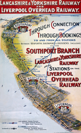 'Through Connection and Through Bookings', LYR/LOR poster, c 1910.