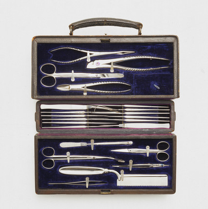 A surgical instrument set, 1870-1901.