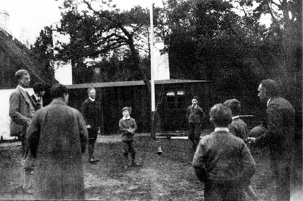 Niels Bohr, Danish theoretical physicist, playing football, c 1910.