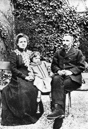 Marie and Pierre Curie, French physicists, with their daughter, 1904.