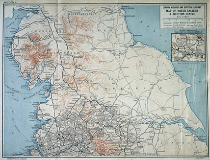 Map of the London, Midland and Scottish Railway, c 1930.