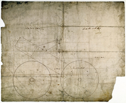 Drawing of part of a steam locomotive designed by Robert Stephenson, c 1830.