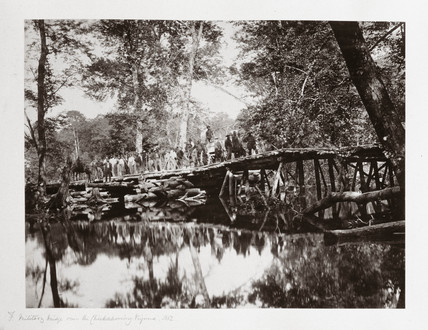 A military bridge over the Chickahominy, Virginia, USA, c 1862.