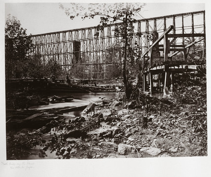 Trestle bridge over the Etawah at Whiteside, near Atlanta, Georgia, 1864.