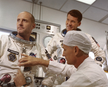 Gemini 6 astronauts Thomas Stafford and Walter Schirra, 1965.