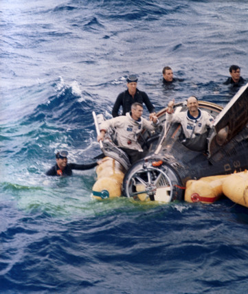 Gemini 9 spacecraft after splashdown, 1966.