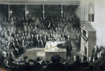 Faraday lecturing at the Royal Institution, 27 December 1855.