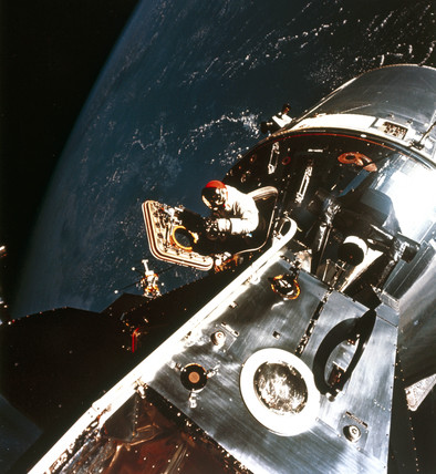 Apollo 9 astronaut David Scott in space, 1969.