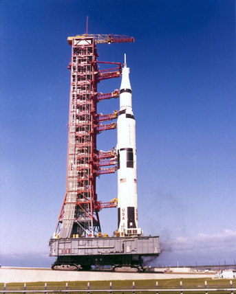 The Apollo 11 Saturn V rocket, 1969.