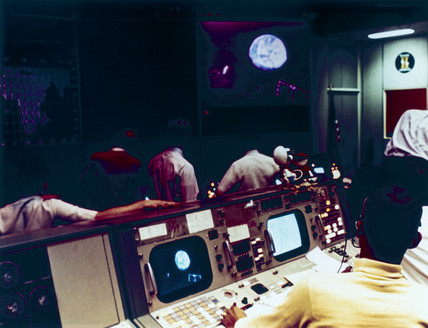 Mision Operations Control Room during the Apollo 10 mision, May 1969.