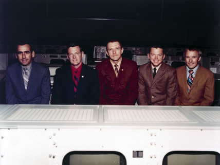 The five flight directors of the NASA Apollo programme, 1971.