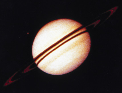 The planet Saturn from Pioneer 11, September 1979.