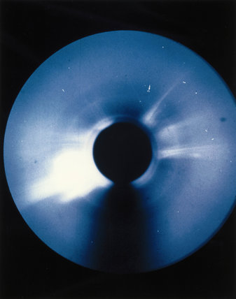 Solar coronal transient in helium 3 light, photographed by Skylab, 1973.