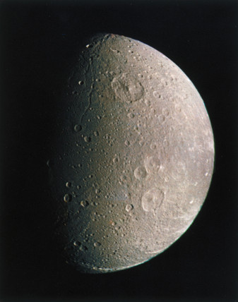 Dione, one of the moons of Saturn, photographed by Voyager 1, 1980.