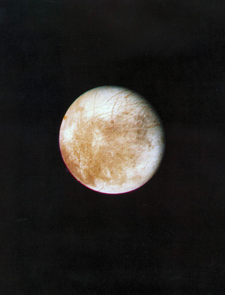 Europa, one of the four large moons of Jupiter, 1979.