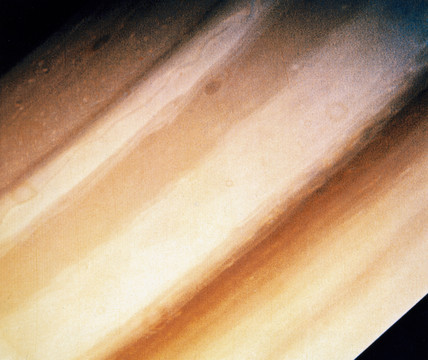Close up of Saturn's clouds, photographed by Voyager 1, 1980.