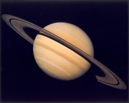 Saturn and its rings, photographed by Voyager 1, 1980.