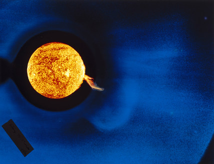 Solar coronal transient, photographed in ultraviolet light from Skylab, 1973.