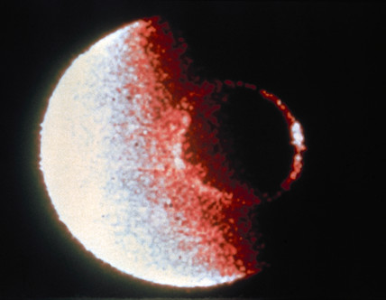 The Earth's aurora from the Dynamics Explorer 1 (DME-1) satellite, 1981.