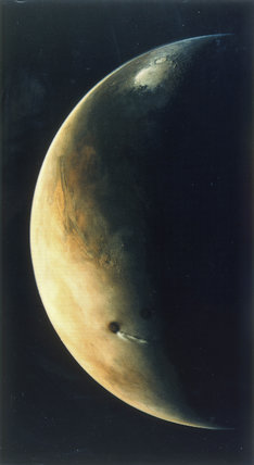 View of Mars from the Viking 2 Orbiter, August 1976.