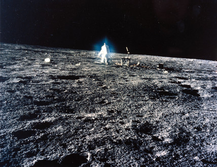 Apollo 12 astronaut on the Moon, 1969.