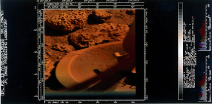 Foot of the Viking 2 lander on the surface of Mars, 1976.