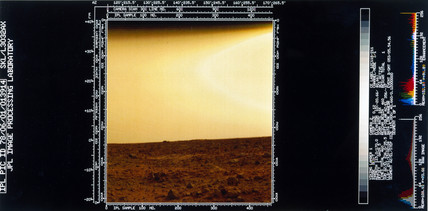 Martian landscape seen from Viking 1, 1976.