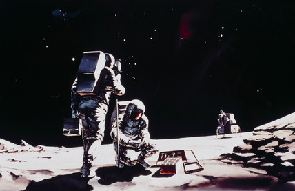 Artist's impresion of two Apollo astronauts on the Moon, 1968.