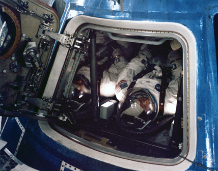 Astronaut in an Apollo Command Module, 1969-1971.