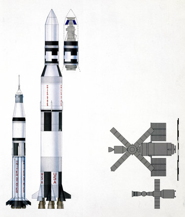Diagram of Saturn rockets, Skylab launch vehicles, 1973.