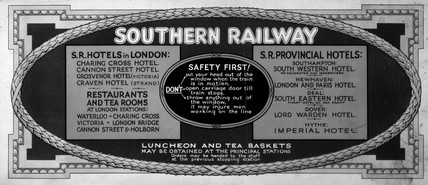 Southern Railways carriage advertisement, c 1920s.