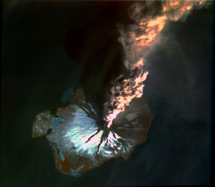 Landsat image of volcanic eruption, Alaska, 1986.