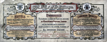 'Hotels, Omnibuses and Luncheon Baskets', carriage advertisement, 1907.