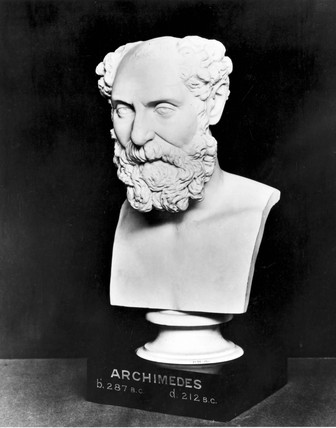 Sculpted bust of Archimedes, Greek mathematician, 19th century.