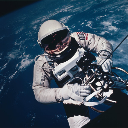 Astronaut Ed White spacewalking, 1965.
