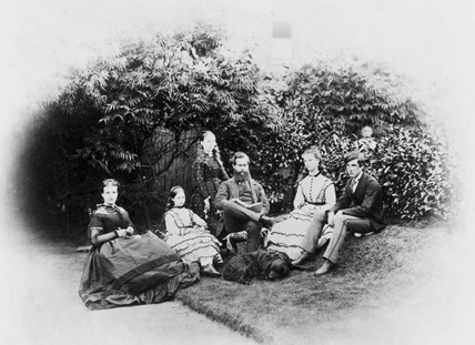 Henry Prevost Babbage with his wife and family, c 1870s.