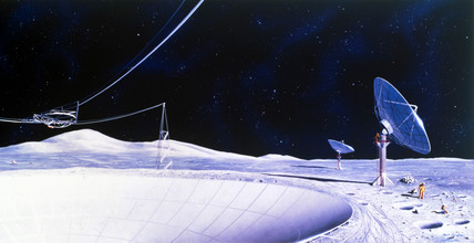 Drawing of future lunar observatory, 1988.