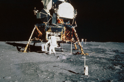 Apollo 11 astronaut Edwin 'Buzz' Aldrin on the Moon, 1969.