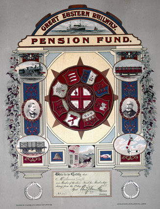 Great Eastern Railway pension fund. membership certificate, 1886.