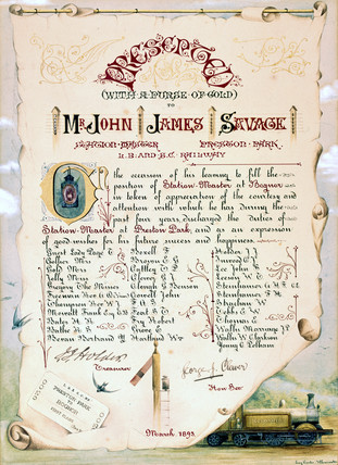 Certificate presented to John James Savage, 1893.