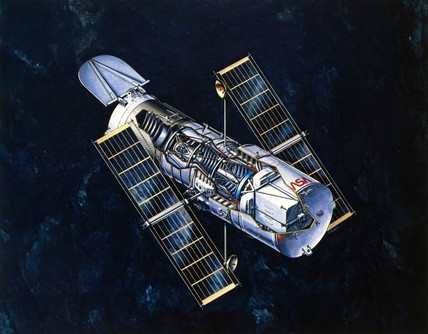 Drawing of Hubble Telescope, 1980s.