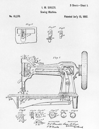 Patent Drawing Of An Early Singer Round Bobbin Sewing Machine 40 Impressive Patent For Sewing Machine