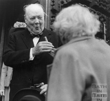 Winston Churchill meeting a member of the public outside the Guildhall 1950