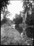 Fishing on the Kennet and Avon Canal outside Harbutt's, Bathampton c.1922