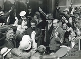 Haile Selassie being greeted leaving the Royal Baths, Aug 1936