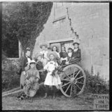 Large group portrait with a cart at Murhill, near Limpley Stoke, c.1890s