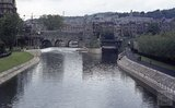 The newly completed Pulteney Weir and riverbank, 1972