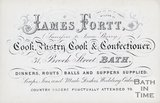 Trade Card for James FORTT (successor to Isaac Sherry) 31 Brock Street, Bath